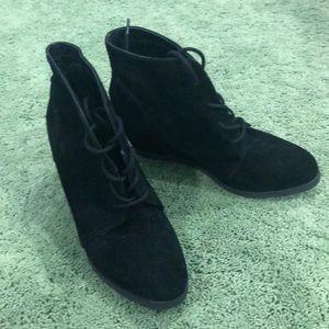 Black sued wedged booties